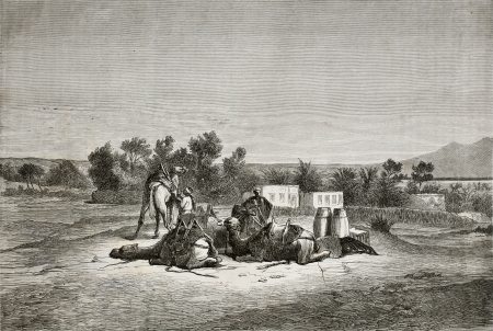 crouched: Old illustration of Moses Spring (Oyun Musa), near Suez in Sinai peninsula. Created by Pottin, published on Le Tour du Monde, Paris, 1864