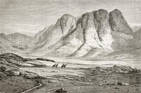 monte sinai: Antigua ilustración del Monasterio de Santa Catalina, al pie del Monte Sinaí, Egipto. Creado por Pottin y Bida, publicado en Le Tour du Monde, París, 1864 Editorial