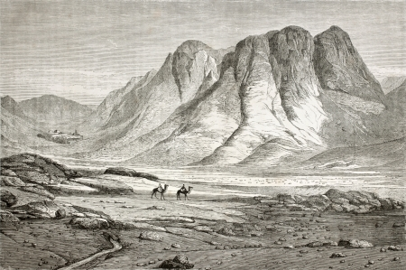 sinai: Old illustration of Saint Catherines Monastery at the foot of Mount Sinai, Egypt. Created by Pottin and Bida, published on Le Tour du Monde, Paris, 1864