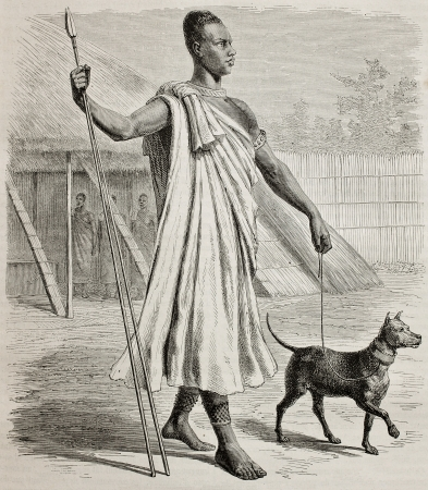 Old engraved portrait of Mtesa, King of Uganda. Created by Durand and Sichon, published on Le Tour du Monde, Paris, 1864
