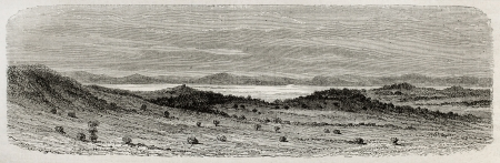 nile source: Old view of Murchinson bay in Victoria lake, Uganda. Created by Riou, published on Le Tour du Monde, Paris, 1864 Editorial