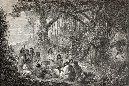 Old illustration of a group of natives Peruvian cooking on the bonfire. Created by Riou, published on Le Tour du Monde, Paris, 1864 Stock Photo - 15156019