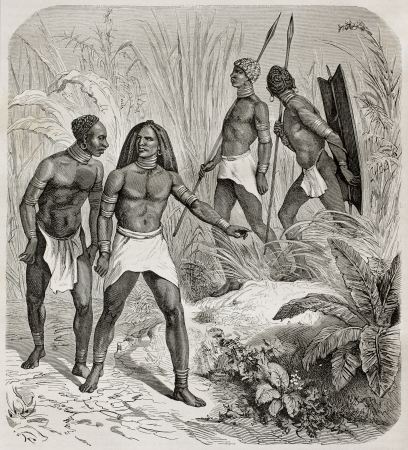 anthropological: Old illustration of native Africans near Kidi, southern Sudan. Created by Castelli, published on Le Tour du Monde, Paris, 1864 Editorial