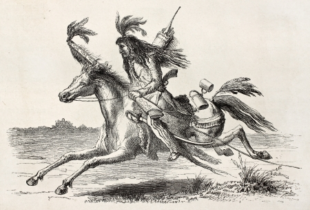 Old illustration of a Sioux native American scout riding. Created by Lancelot, published on Le Tour du Monde, Paris, 1864