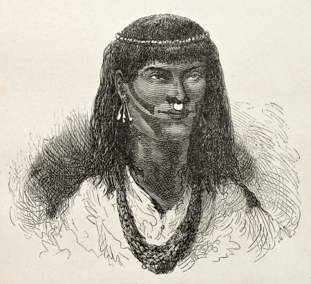 ethnology: Old illustration of native Peruvian of Chiruntia region.  Created by Riou, published on Le Tour du Monde, Paris, 1864