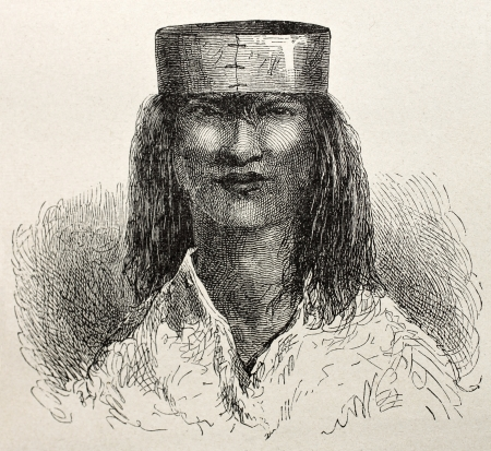 andean: Old illustration of a native Peruvian of Saniriato region. Created by Riou, published on Le Tour du Monde, Paris, 1864