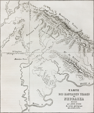Old map of Nebraska badlands, Usa. Created by Evans, engraved by Erhard, published on Le Tour du Monde, Paris, 1864