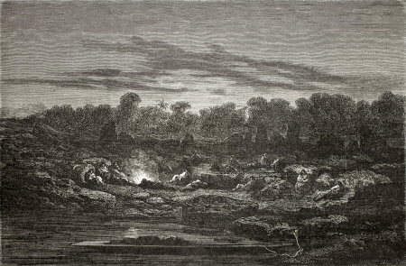 Old illustration of a night encampment at Mapitunuhuari, during Peru exploration. Created by Riou, published on Le Tour du Monde, Paris, 1864 Stock Photo - 15155817