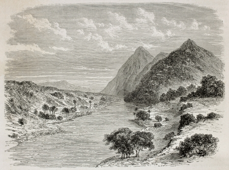 uganda: Old illustration of Nile river before confluence of Asua river, near the border between Uganda and Sudan. Created by De Bar, published on Le Tour du Monde, Paris, 1864