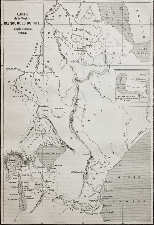 tanganyika: Old map of Nile sources region. Created by Erhard and Bonaparte, published on Le Tour du Monde, Paris, 1864