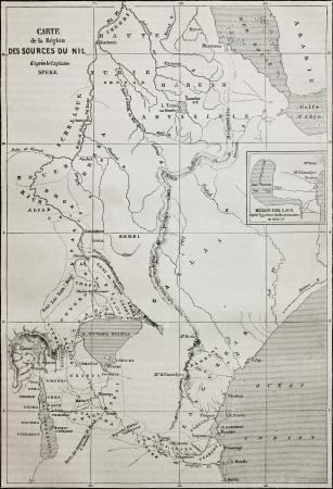 nile river: Old map of Nile sources region. Created by Erhard and Bonaparte, published on Le Tour du Monde, Paris, 1864