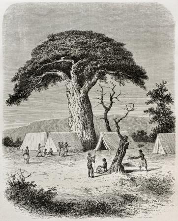the tribe: Antigua ilustraci�n de campamento Ougogo durante el capit�n Speke expedici�n hacia el nacimiento del r�o Nilo, Tanzania. Creado por De Bar, publicado en Le Tour du Monde, Par�s, 1864 Editorial