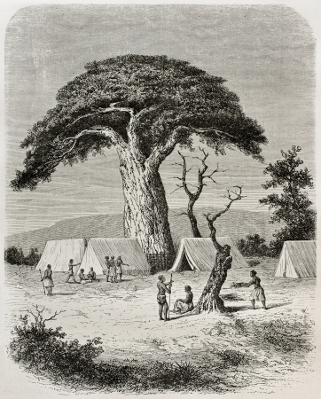 Old illustration of Ougogo encampment during Captain Speke expedition towards Nile river source, Tanzania. Created by De Bar, published on Le Tour du Monde, Paris, 1864