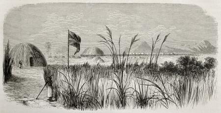 canne: Illustrazione storico di residenza re Kamrasi in Ourynoro tribunale, nel nord Uganda. Creato da De Bar e Meunier, pubblicato su Le Monde du Tour, Parigi, 1864