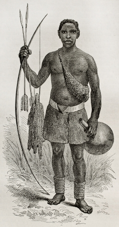 Old illustration of native of the Ouzinza region, Uganda. Created by Bayrad, published on Le Tour du Monde, Paris, 1864