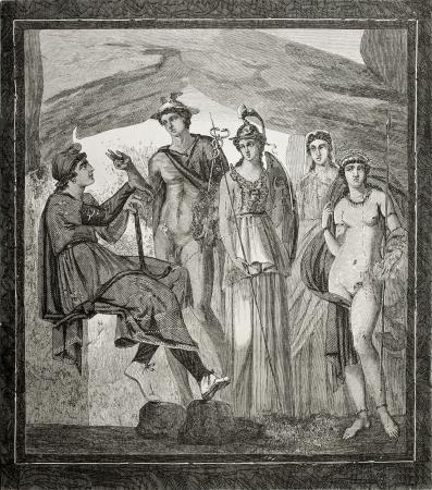 afrodita: Antigua ilustración del fresco juicio París en casa de Paquius Proculus en Pompeya, Italia. rond y Hildibrand, publicado en Le Tour du Monde, París, 1864