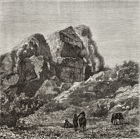 phrygian: Old illustration of a Phrygian tomb excavated in the rock, near Harmancik, Marmara region, Turkey. Created by Gaiaud, published on Le Tour du Monde, Paris, 1864