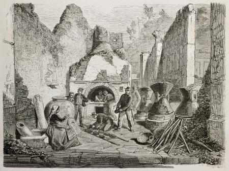 bread shop: Illustrazione storico di vecchio forno con forno a legna e romana fondazione ben conservato pane raffermo a Pompei, Italia. Creato da Ducl�re, Bayard e Laplante, pubblicato su Le Monde du Tour, Parigi, 1864
