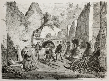 Old illustration of old bakery with bread oven and Roman well preserved stale bread founding in Pompeii, Italy. Created by Duclere, Bayard and Laplante, published on Le Tour du Monde, Paris, 1864