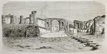 Old illustration of Pompeii forum, Italy. Created by De Bar, published on Le Tour du Monde, Paris, 1864