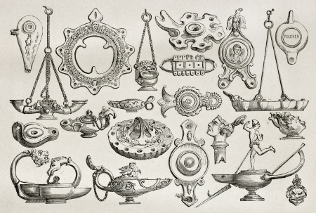 oil lamp: Old illustration of earthenware and bronze lamps found in Pompeii, Created by Catenacci, published on Le Tour du Monde, Paris, 1864