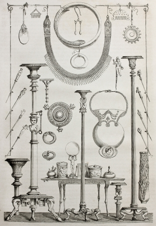 candelabrum: Old illustration of candlesticks, jewellery and toilette tools found in Pompeii, Italy. Created by Catenacci, published on Le Tour du Monde, Paris, 1864 Editorial