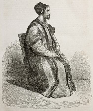 sinai: Old engraved portrait of  Procopius, Father Treasurer in Saint Catherines Monastery, Egypt. Created by Pottin, published on Le Tour du Monde, Paris, 1864