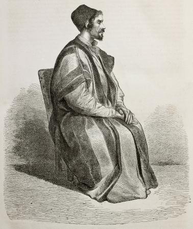 monte sinai: Retrato viejo grabado de Procopio, Tesorero Padre en el Monasterio de Santa Catalina, Egipto. Creado por Pottin, publicado en Le Tour du Monde, París, 1864