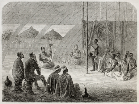 anthropological: Old illustration of tribal queen audience to Speke and Grant explorers. Created by Bayard, published on Le Tour du Monde, Paris, 1864