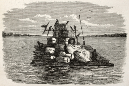 published: Old illustration of a natiive Peruvian on a barge carrying animals and various goods. Created by Riou, published on Le Tour du Monde, Paris, 1864 Editorial