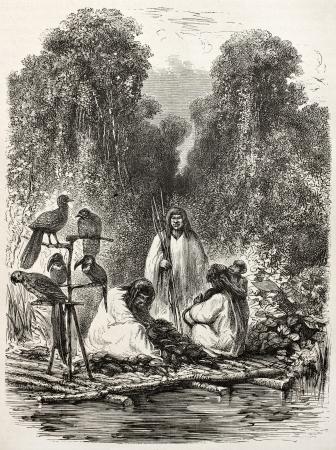 río amazonas: Antigua ilustración de los nativos peruanos Antis en una balsa. Creado por Riou, publicado en Le Tour du Monde, París, 1864 Editorial