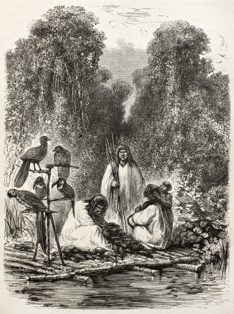 amazon river: Old illustration of Peruvian Antis Natives on a Raft. Created by Riou, published on Le Tour du Monde, Paris, 1864