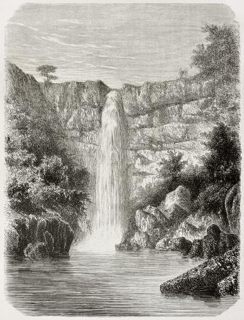 reb: Old illustration of Reb river falls, Abyssinia. Created by De Bar, published on Le Tour du Monde, Paris, 1864