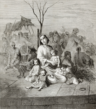 Old illustration of Chinese villagers refugees in Shanghai. Created by Bayard, published on Le Tour du Monde, Paris, 1864