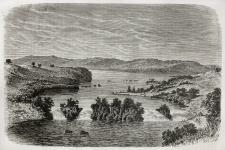 nile source: Old view of Ripon falls, Lake Victoria, once marked as the source of Nile river, nowadays submerged after Owen Falls Dams construction. Created by De Bar, published on Le Tour du Monde, Paris, 1864