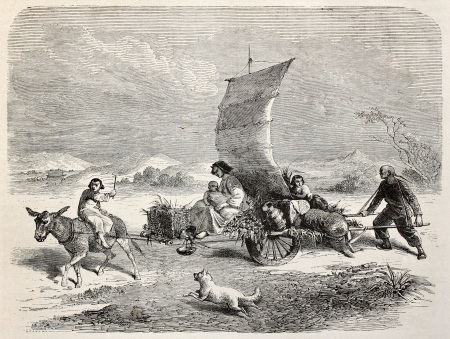 means of transport: Old illustration of Chinese sail cart. Created by Bayard and Gauchard, after photo of Fane, published on Le Tour du Monde, Paris, 1864 Editorial