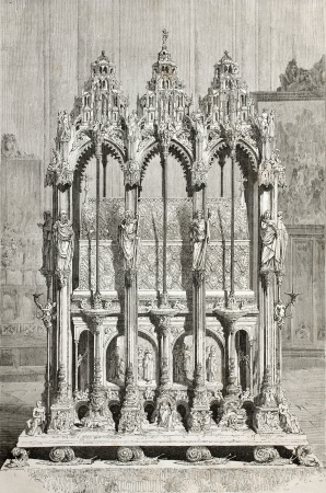 Old illustration of St. Sebald's shrine in Nuremberg cathedral. Created by Thérond, was published on Le Tour du Monde, Paris, 1864 Stock Photo - 15155873