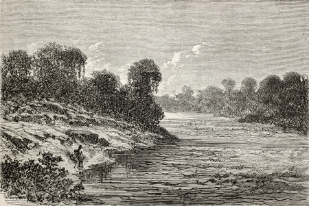 río amazonas: Antigua ilustración de Sangobatea orilla del río, Perú. Creado por Riou, publicado en Le Tour du Monde, París, 1864