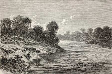 amazon river: Old illustration of Sangobatea river bank, Peru. Created by Riou, published on Le Tour du Monde, Paris, 1864