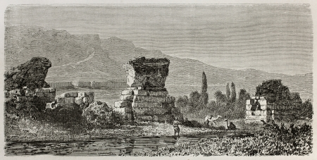 sard: Old illustration of ruins of  Sardis, the capital of the ancient kingdom of Lydia. Turkey. Created by Gaiaud, published on Le Tour du Monde, Paris, 1864