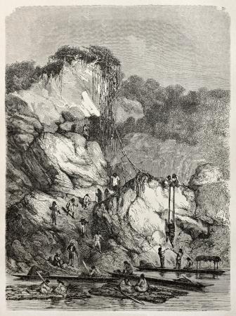 Old illustration of descending to Sibucuni river bank, Peru. Created by Riou and Laplante, published on Le Tour du Monde, Paris, 1864