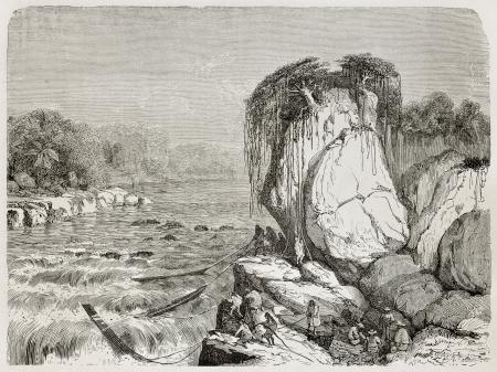 Old illustration of Sibucuni rapids, Peru. Created by Riou, published on Le Tour du Monde, Paris, 1864