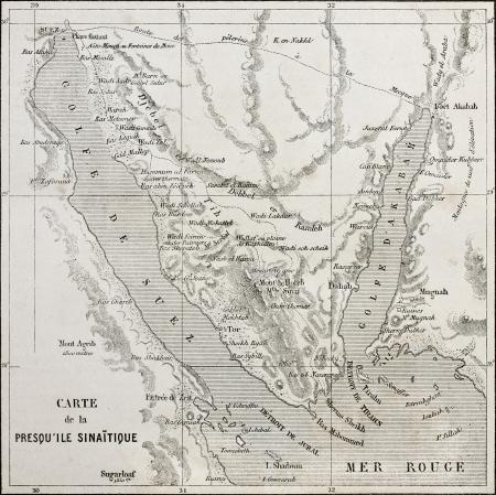 sinai peninsula: Old map of Sinai peninsula. Created by Erhard,  published on Le Tour du Monde, Paris, 1864