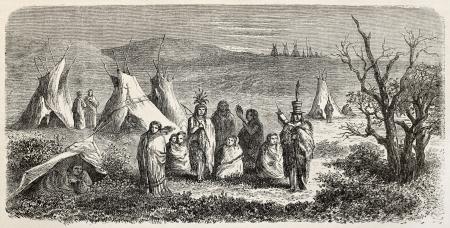 sioux: Old illustration of Sioux encampment. Created by Lancelot, after sketch of De Girardin, published on Le Tour du Monde, Paris, 1864