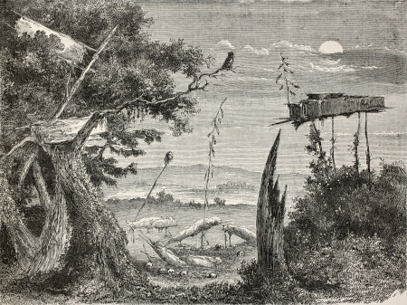 Old illustration of a Sioux graveyard in Nebraska, USA. Created by Lancelot and Goucherd, published on Le Tour du Monde, Paris, 1864 Stock Photo - 15155957