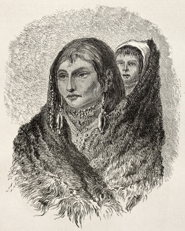 sioux: Old illustration of Sioux woman carrying child on her shoulder. Created by Lancelot, published on Le Tour du Monde, Paris, 1864 Editorial