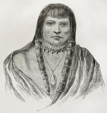 indian warrior: Old Sioux warrior engraved portrait. Created by Lancelot, published on Le Tour du Monde, Paris, 1864