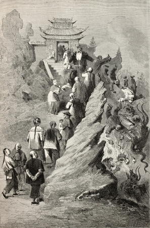 damnation: Old illustration of the way toward sky. Created by Bayard, after sketch of Treves on allegoric drawing in a  Tianjin  pagoda. Published on Le Tour du Monde, Paris, 1864.