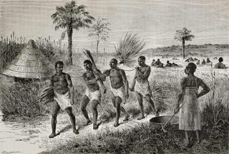 Old illustration of slaves in Unyamwezi region, Tanzania. Created by Bayard, published on Le Tour du Monde, Paris, 1864 Stock Photo - 15155959