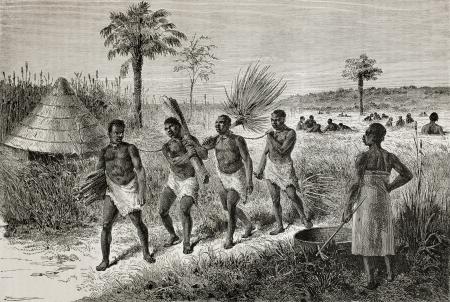Old illustration of slaves in Unyamwezi region, Tanzania. Created by Bayard, published on Le Tour du Monde, Paris, 1864